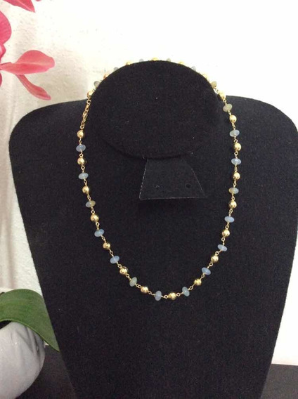 Collar De Cuarzo Blancos Con Oro