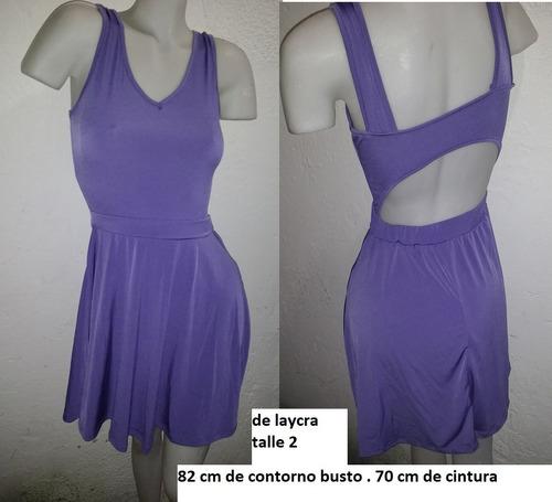 Vestido Laycra Lila Corto  Talle 1 O 2  !!