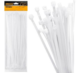 Pack 100 Collarin Precinto Blanco 40 Cm X 7.2 Ingco Hct4001