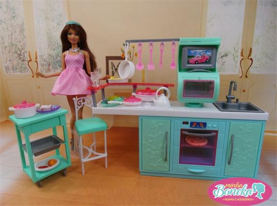 Cozinha Completa Fogao Pia Panela Pra Casa Da Boneca Barbie