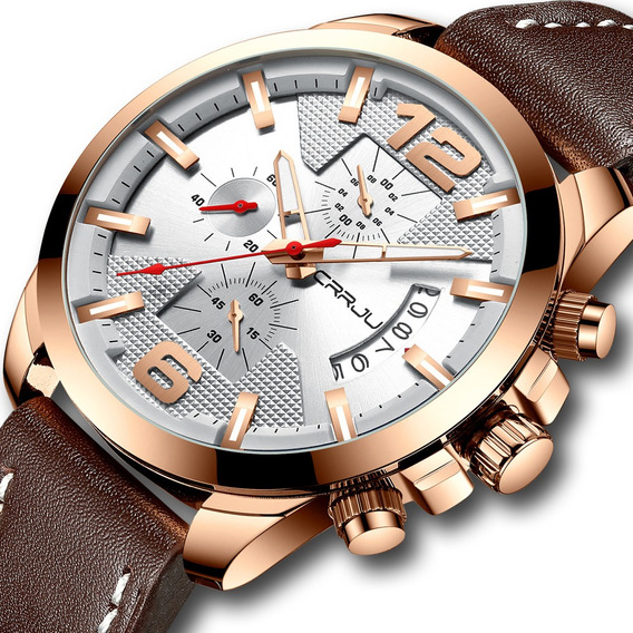 Relógio Masculino Crrju Funcional Cronômetro Pulseira Couro