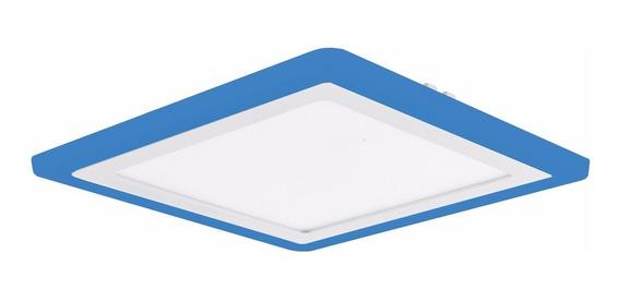 Kit 2 Plafon Quadrado Embutir Led 21w Branco Azul Color 3078