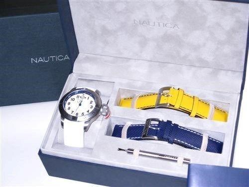 Relogio Nautica Box Com 3 Pulceiras