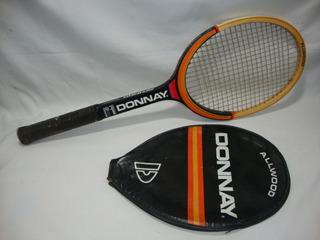 Antiga Raquete Tenis Madeira Donnay Com Capa Anos 70