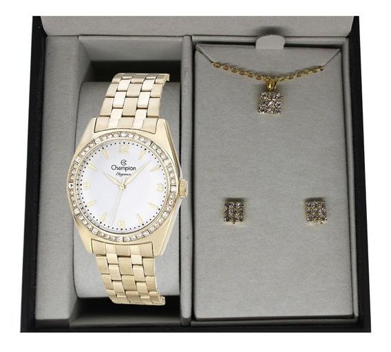 Relógio Champion Feminino Dourado + Kit Colar E Brinco Kit01