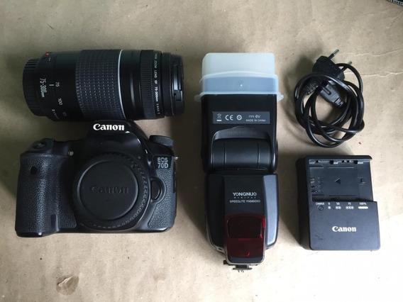 Camera Canon Eos 70d + Lente Canon 75 - 300mm + Flash Yongnu