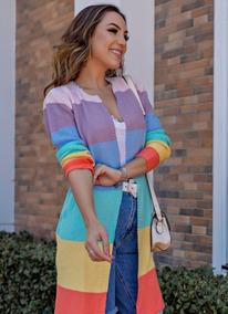 Max Cardigan Colorido Listrado Blusa Comprida