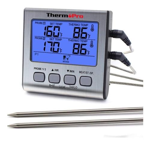 Imagen 1 de 9 de Termómetro Digital Con 2 Sondas Thermopro Tp17 Carnes Timer