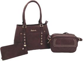 Bolsas Femininas Kit Com 3 Peças Forradas Luxo Promoção