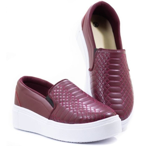 Slip On Feminino Bordo Bordado Costura