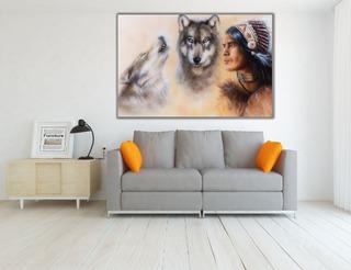 Cuadro Moderno Canvas, Guerrero Indio Con Lobos