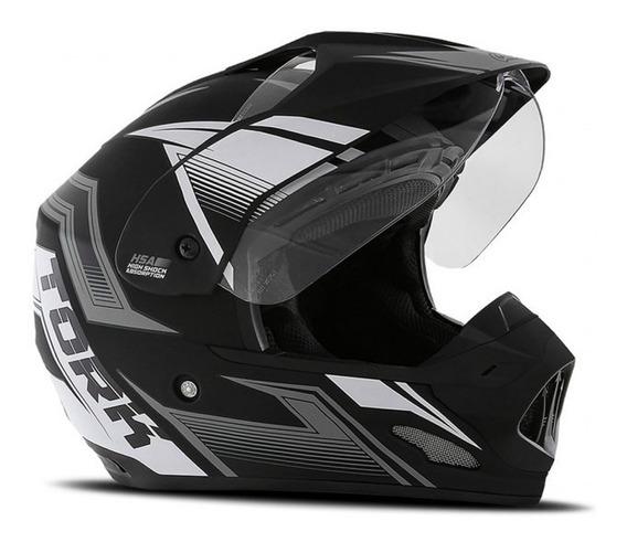 Capacete Motocross Th1 New Adventure Com Viseira Cromada 58
