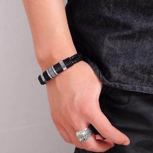 Bracelete Pulseira De Couro Genuino Masculino Preto Prata Com Encaixe Em Aço Inoxidável