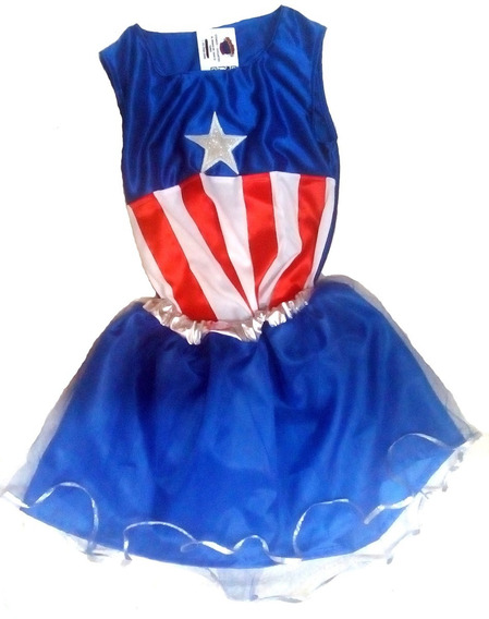 Disfraz Capitan America Nena Artesanal Talle 3/4 Juguetoys
