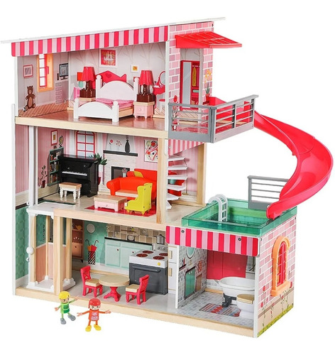 Casa De Muñecas De Madera Con Muebles Y Accesorios