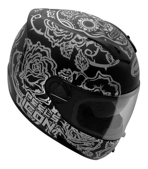 Capacete Peels Icon Skull Preto Grafite C/ Óculos Tamanho 60