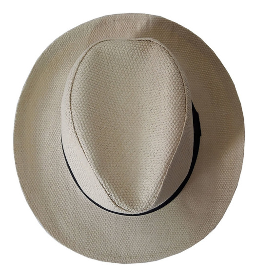 Chapéu Panamá Feito Em Fibra Natural Cores Bege E Marfim