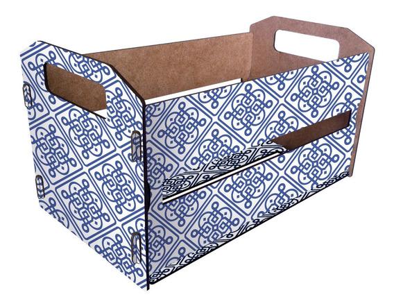 Canasto Organizador De Madera Cajón Tipo Verdulero Azulejos
