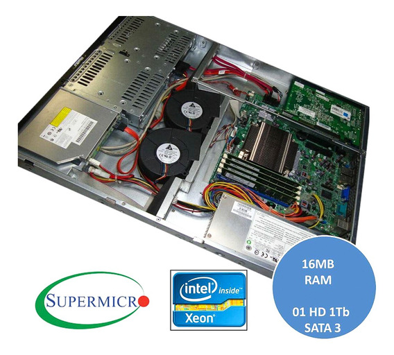 Servidor Supermicro 1u Com Placa X10 Xeon 16gb Ram Hd 1tb