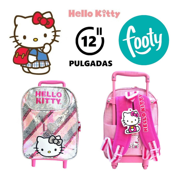 Mochila Hello Kitty 12 Pulgadas Con Carrito Footy