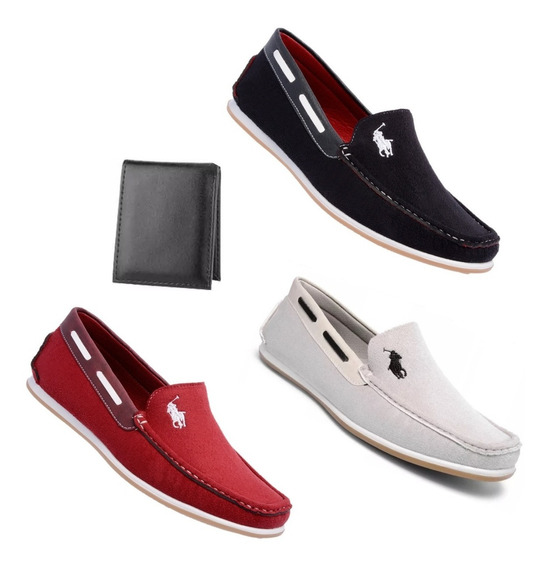 Sapatos Masculinos Mocassim Kit 3 Pares Casual + 1 Carteira