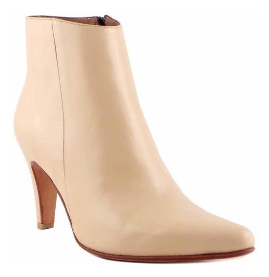 Botas Mujer Cuero Botineta Briganti Zapato Taco - Mcbo24890