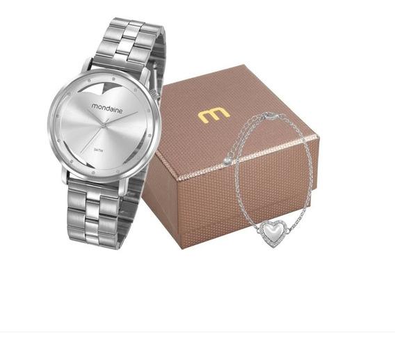 Mondaine Kit Relógio Analógico Com Pulseira Coração Prata