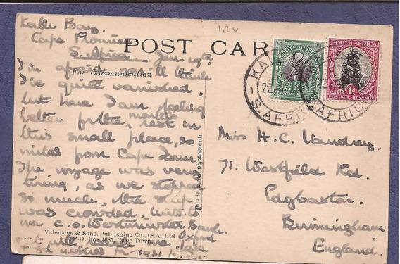 South Africa Colonia Britanica 1931 Postal De Kalk Bay - 211