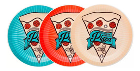 Pratos Rasos Para Pizza Sortido Conjunto Com 3 Unidades