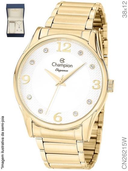 Kit Relógio Champion Dourado Original Cn26215w