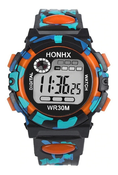 Relógio Digital Infantil Honhx Malhado Laranja + Brinde