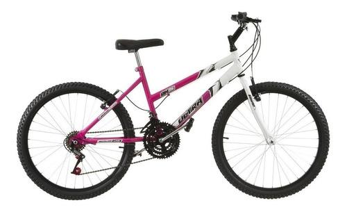 Imagem 1 de 1 de Bicicleta  de passeio Ultra Bikes Bike Aro 24 bicolor 18 marchas aro 24 18v freios v-brakes cor rosa/branco