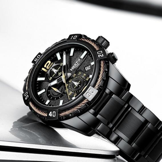 Reloj Hombre Nibosi Lujo Cronografo Moderno Acero Inoxidable