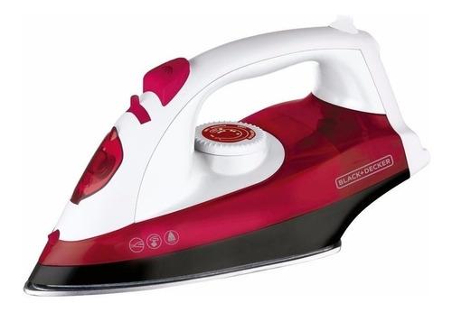 Plancha a vapor Black+Decker IRX5300 TrueGlide  color blanco y rojo con suela antiadherente 220V