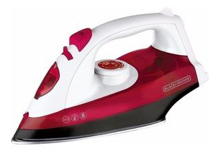 Plancha a vapor Black+Decker TrueGlide IRX5300 color blanco y rojo con suela antiadherente 220V