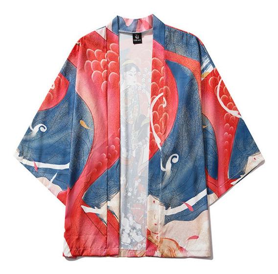 Verano Japonés Cinco Puntos Mangas Kimono Para Hombre Y Muje