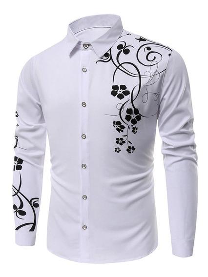 Camisa Hombre Estampado Floral Slim