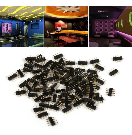 100 Pcs 4pin Macho Plug Adaptador Conector Agulhas Para Rgb