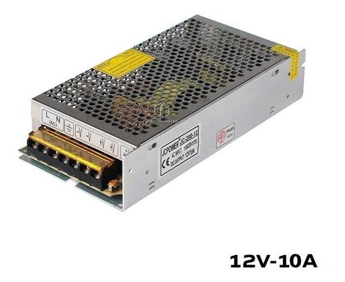 Imagen 1 de 10 de Fuente 12v 10a Metalica Regulada Switching Tira Led Cctv