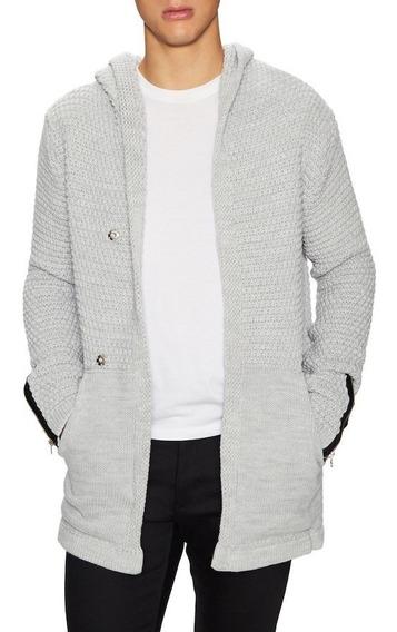 Sweater- Cárdigan Con Capucha De Algodón Tejido Importada