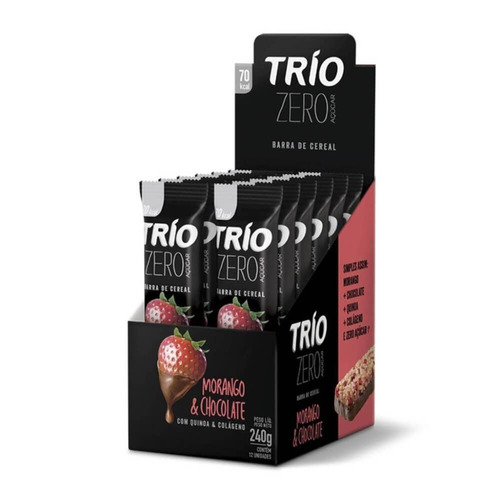 Trio Barra Cereal Zero Morango Chocolate C/12