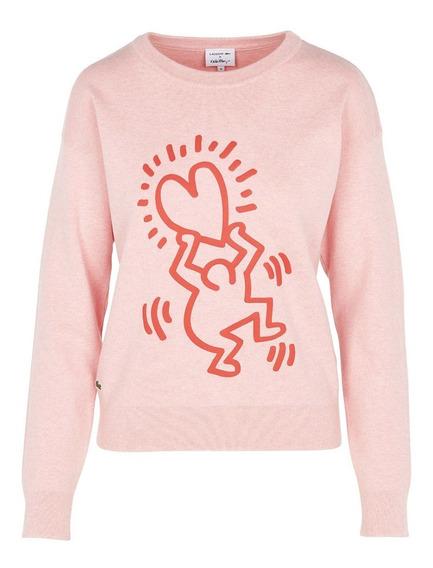 Suéter Lacoste X Keith Haring Feminino Estampado Em Algodão