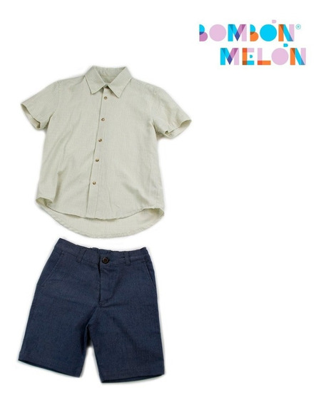 Bombón Melon - Conjunto Short Lino Beige Con Azul, Talla 12