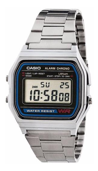 Relógio Casio Vintage Prata A158wa-1df Unissex Medio + Cx