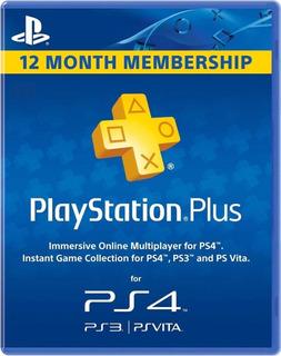 Playstation Plus 1 Año Psn Ps4 Plus 12 Meses Ps4 Ps3 Psvita