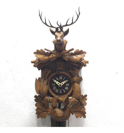 Hermoso Reloj Cucu Casadores Venado Madera 2 Cuerdas Alemán