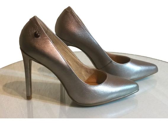 Zapatillas Para Dama Pump Piel Natural Color Acero Westies