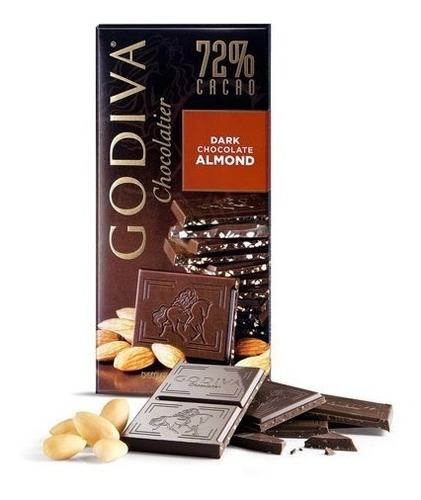 Chocolate Godiva - Barra De 100g: Dark, Almond, Sea Salt