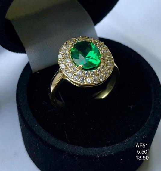 Anel Em Ouro 18k, Com Pedras Naturais Esmeralda E Diamantes