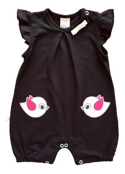 Macacão Curto Bebê Com Bordado 100% Algodão Menina